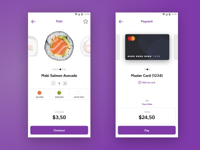 Sushi Food Order app and checkout checkout ux-ui ui dailyui 002