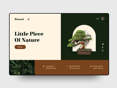 Landing page design concept intercation adobe xd figma nature bonsai designers design web webdesig popular shot green minimal uxdesign uidesign uiux ui dribbblers