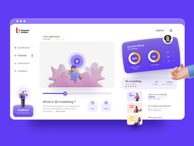 online course ui/ux concept e learning learning platform gamification logo design inteaction website purple 100 days of ui dailu ui online course learning app bucket uxdesign web uiux figma popular shot minimal uidesign dribbblers