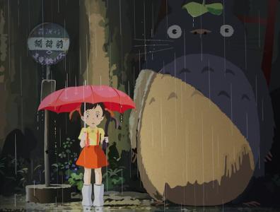 It's raining! cartoon vector illustration ghibli fanart illustraion
