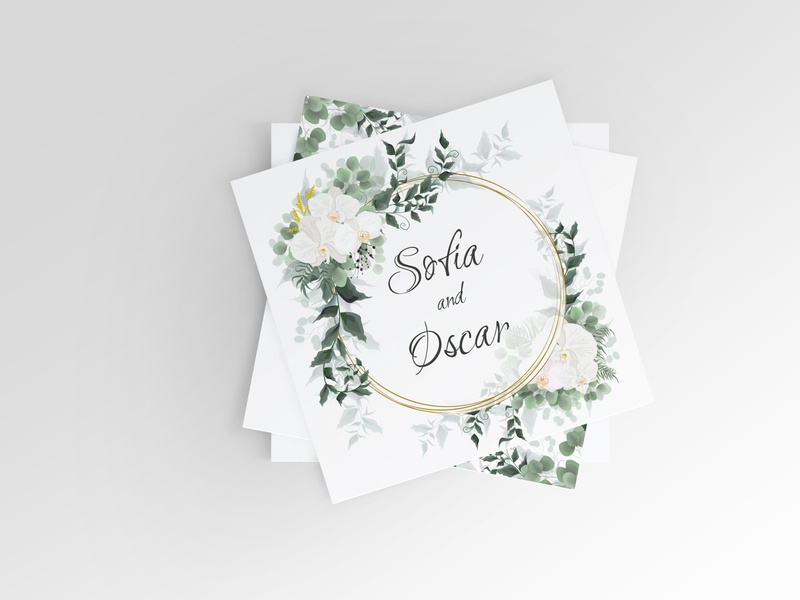 Floral template for a wedding invitation logo design beauty vector template greens leaf flower gold orchid invitation