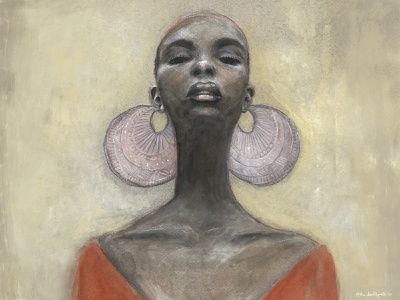 Lady with Enormous Earrings south african female illustrator portrait illustration woman african-american pencil watercolor portrait art illustration art