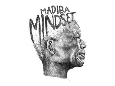 The Madiba Mindset - Portrait Illustration pencil art artist female illustrator south africa africa illustration art illustration art portrait nelson mandela