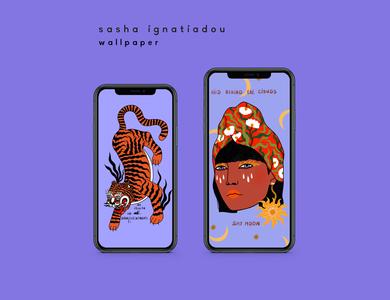 Wallpapers for mobile character digital web sashaignatiadou illustration illustration art pattern design app
