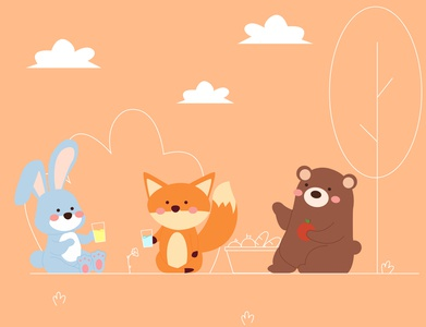 picnic time nature picnic animals storybook flat illustration children book illustration vector illustration dribble adobe illustrator