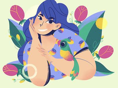 Jessmiller dtiys flowers dtiys digital animals lady character flat illustration illustration procreate dribble