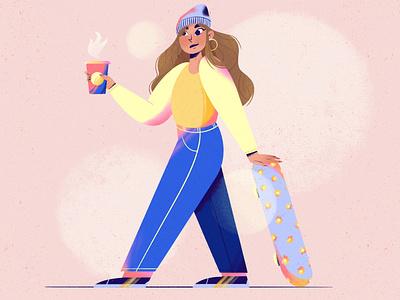Andrea's Dtiys power girl coffee skateboard dtiys digital art lady flat illustration procreate character illustration dribble