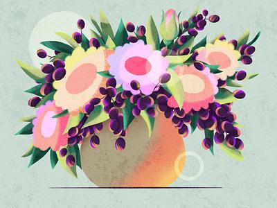 Flower vase grape texture vase flowers digital procreate illustration dribble