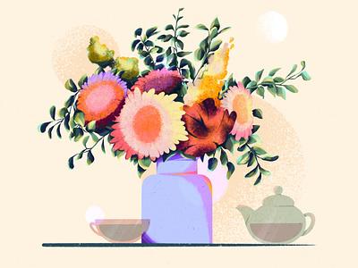 Flowers dishes vase flowers digital art procreate illustration dribble