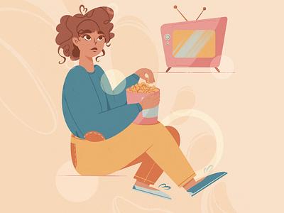 Film art film popcorn dribble character flat illustration procreate digital graphic design