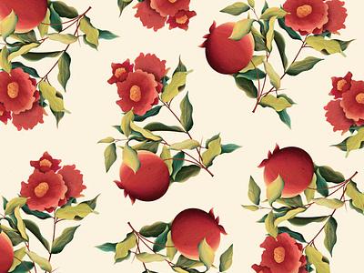 Pomegranate pattern digitalart illustration flowers 2dart pomegranates textures procreate pattern dribble
