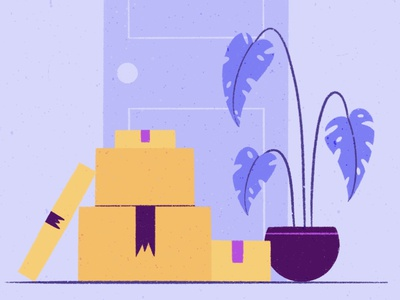 Moving flowers boxes apartment flat illustration character procreate illustration dribble moving