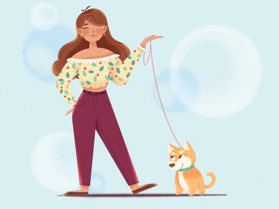 Best friends design vector ipadpro 2dart freetime artwork walk raster animals artist flatdesign digitalart girl bestfriends dog textures flat illustration character procreate illustration