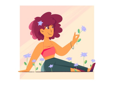 Bloom at your own pace digitalart textures flowers flat illustration character procreate illustration dribble