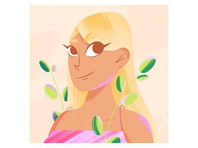 Portrait of a girl portrait plants texture illustrator girl character design flat illustration character procreate illustration dribble