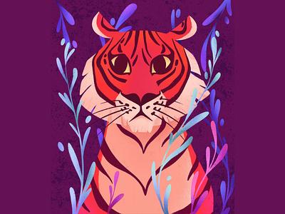 Tiger hand drawing digital art jungle texture tiger animal flat illustration procreate illustration dribble