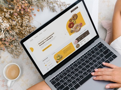 Donuts landing page food interface system sale shop magazine donut web ux figma website design ui