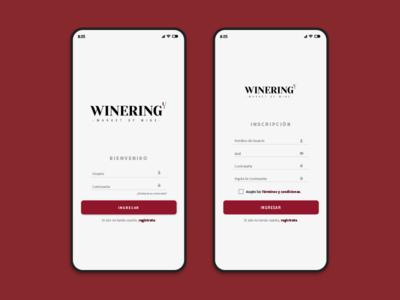 Winering - Ingreso y Registro branding design registration sign register register form sign up brand design ux ui mobile app