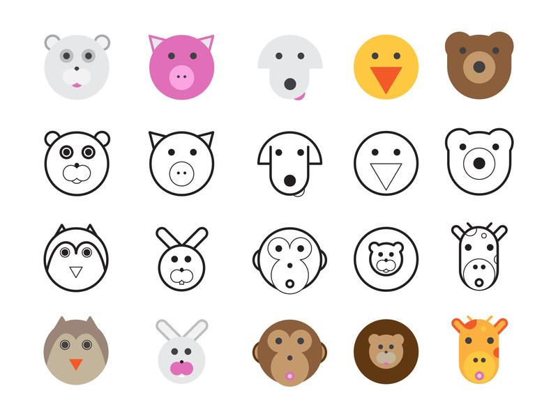 Icon Design children animals iconography icon set icon