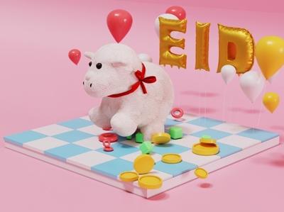 Eid Mubarak toys kids poster 3d design cinema4d c4d 3d poster kids illustration illustraion 3d illustration eid