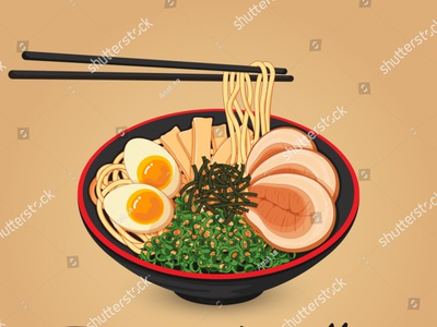 Japanese noodles. Toppings include eggs, sliced chashu pork, sea draw chopsticks pork meal anime illustration vector cartoon wagyu abura ramen noodles japanese food food illustration