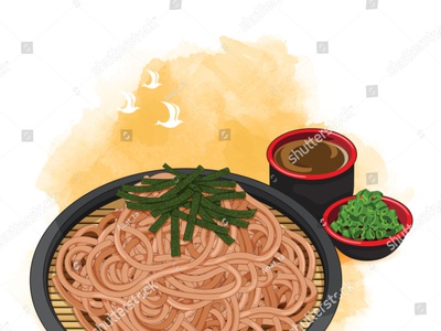 Soba noodles with tsuyu dipping sauce, scallion and topping nori design set draw noodles noodle somen soba vector cartoon illustration anime japanese food food illustration
