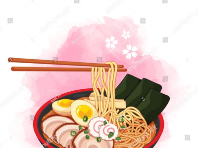 Ramen bowl on watercolor background. Toppings include eggs, slic chopsticks udon ramen noodle draw noodles illustration cartoon anime meal pork vector japanese food food illustration