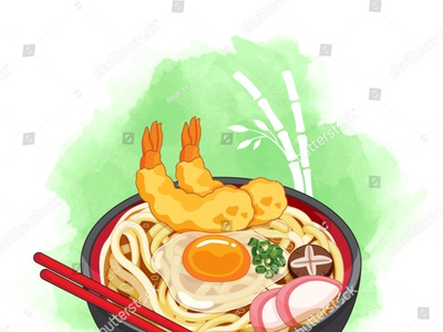 Udon bowl on bamboo watercolor background. Toppings include eggs manga udon ramen noodles illustration cartoon anime shrimp prawn tempura vector japanese food food illustration