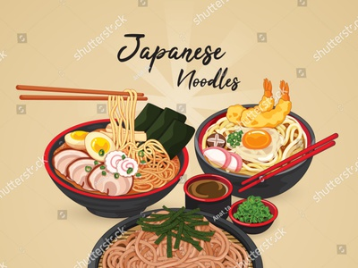 Japanese noodles: ramen, udon, and soba. banner poster drawing manga somen soba udon ramen noodle noodles meal illustration cartoon anime pork vector japanese food food illustration