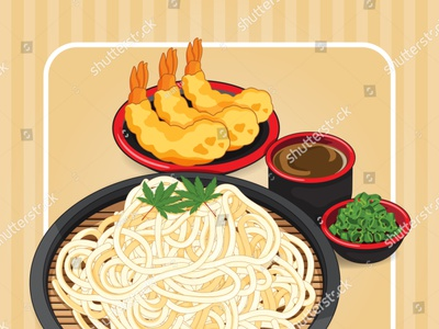 Somen noodles with tsuyu dipping sauce, scallion and topping tem soup banner poster manga noodle noodles illustration cartoon anime shrimp prawn tempura vector japanese food food illustration