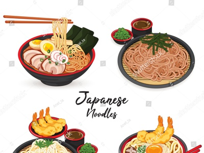 Japanese noodles: ramen, udon, soba and somen. manga draw isolated somen soba udon ramen noodles meal pork illustration cartoon anime vector japanese food food illustration