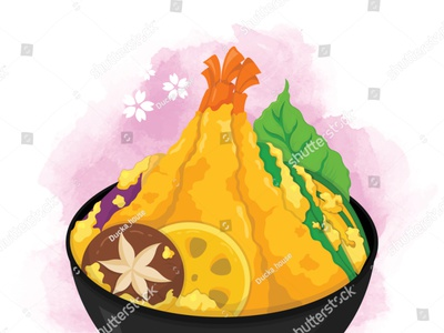 Tempura donburi (ten don) illustration on watercolor background manga illustration cartoon anime vector shrimp prawn tempura rice tendon donburi japanese food food illustration