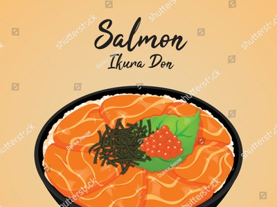 Salmon ikura don garnish with kizami nori, shiso leaves and ikur ikura seaweed manga illustration cartoon anime vector fish rice donburi caviar salmon japanese food food illustration