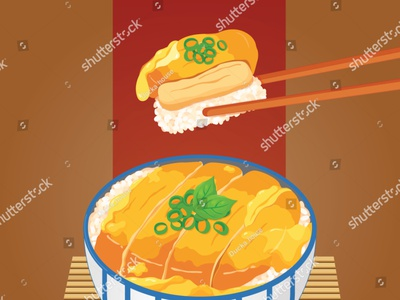 Chicken donburi (Katsudon) illustration on bamboo background vec draw banner poster manga meal illustration cartoon anime vector chicken rice katsudon donburi japanese food food illustration