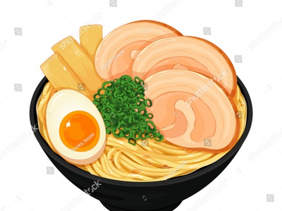 Japanese ramen noodle soup illustration vector. (Japanese food) manga pork meal illustration cartoon anime vector noodles udon ramen japanese food food illustration