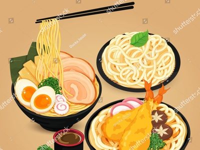 Japanese noodles: ramen, udon and soba vector. somen soba udon ramen noodles manga pork meal illustration cartoon anime vector japanese food food illustration