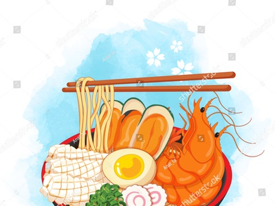 Seafood ramen bowl on watercolor background. Toppings include eg noodles ramen egg beach shell octopus squid shrimp prawn illustration cartoon anime vector seafood illustration seafood japanese food food illustration