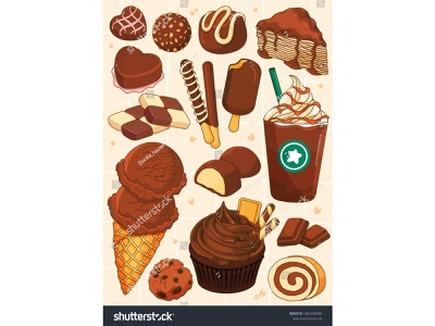 Chocolate dessert decoration ideas illustration vector. (chocola vector illustration chip frappuccino biscuit heart cookie checkerboard roll cupcake ice cream chocolate cartoon drawing stickers dessert icons food illustration