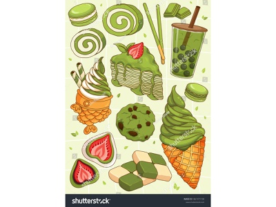 Japanese matcha dessert recipes illustration vector. (Matcha ice green tea taiyaki macaron cookies mochi roll cake crepe matcha draw illustration anime cartoon vector japanese food dessert illustration food illustration