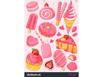 Strawberry desserts recipes illustration vector. (Pink sweet des drinking magaron strawberry mochi cupcake donut icecream cake illustration anime cartoon dessert dessert illustration food illustration