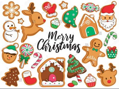 Christmas gingerbread cookies decorating illustration vector. vector design socks snowflake santa claus reindeer glove snow gift tree christmas gingerbread house cookies candy stickers cartoon illustration gingerbread