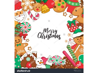 Christmas frame and desserts decorations illustration chocolate house snowflake snowman santa claus bell gift candy tree design cookies vector cartoon illustraion gingerbread christmas card christmas frame