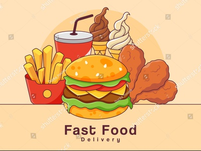 Delivery fast food flat banner background vector. breakfast lunch draw soft cream icecream sparkling water pepsi coke french fries fried chicken hamburger cheeseburger fastfood cartoon vector food illustration