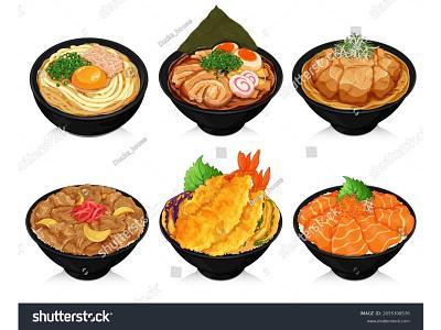 Japanese food recipes with rice and noodles illustration vector. set menu lunch tempura ikura salmon don tendon gyudon donburi noodles somen soba udon ramen anime manga illustration japanese food vector cartoon food illustration