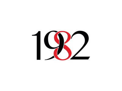 1982 simple numbers colours tailoring logodesign design logo