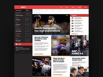 ESPN Redesign espn redesign web webpage sports web design layout tiles