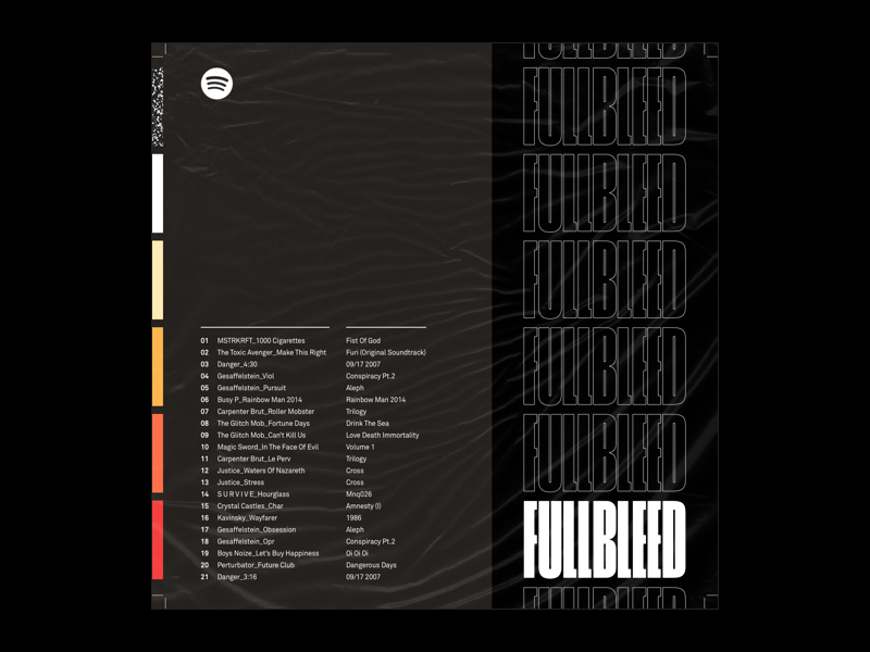 FULLBLEED cinderblock playlist spotify akkurat fullbleed black layout album