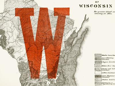 Badger Print wisconsin w red map