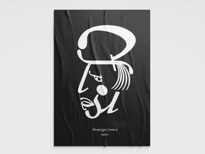 Font Face poster design corsiva monotype poster design illustration typography