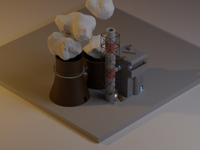 my little factory lowpoly minimal blender design